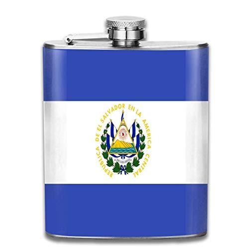 Bikofhd Hip Flask for Liquor 7 Oz Leak Proof EL Salvador Flag Stainless Steel Pocket Flask for Men Alcohol Whiskey -