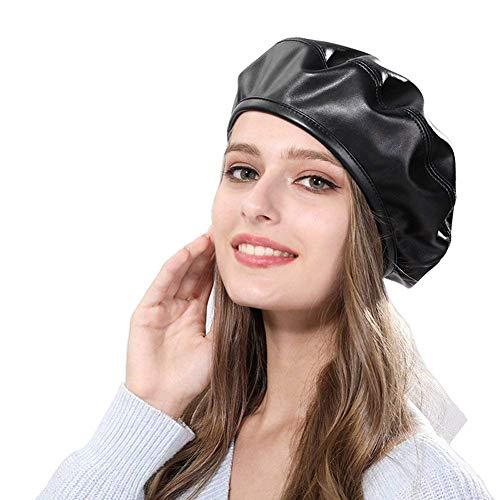 Amorar Frauen Barette Elegant PU Leder Mütze Winter Künstler Painters Hut Warm Französisch Baskenmütze Gatsby Newsboy Cabbie Cap Schwarz