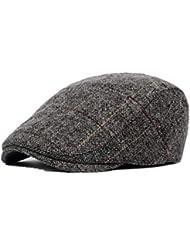 f4b66dba76ed9 ZHEL Moda otoño e Invierno Sombrero de Hombre de Mediana Edad Gorra Boina a  Cuadros clásico