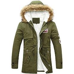 Minetom Mujer Hombre Encapuchado Chaquetas Acolchado Jacket Moda Parka Abrigos Calentar Pareja Outwear Verde Homme Tamaño ES XX-Large
