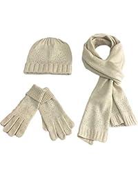 MERRYHE Dames Strass Bonnet Chapeaux Gants Écharpe Set 3 Pièce d hiver  Chaud Mitaines en Laine Cap Foulards pour Femmes… 9e77ad73e80