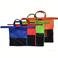 Yinitoo 4pcs/Set Cart Trolley Supermarket Shopping Bag Grocery Grab Shopping Bags Foldable Tote Eco-Friendly Reusable Supermarket Bags