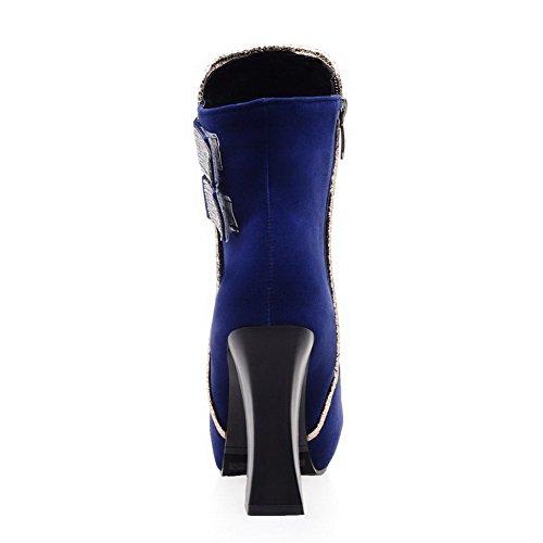 AgooLar Damen Hoher Absatz Nubukleder Niedrig-Spitze Beschlagene Strass Reißverschluss Stiefel Blau