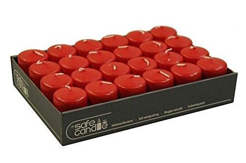 Kleine & Schlanke Stumpenkerze (Safe Candle) - Rubin - Höhe 7cm / Ø 5cm - 24 Stück - Hohe Brenndauer - Selbstverlöschende & Ganzjährige Kerze - 100% made in Germany