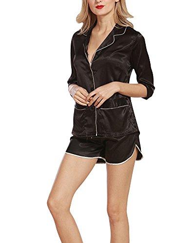 Klassischer Kurzarm-Pyjama für damen von zweiteiliger schlafanzug Schwarz