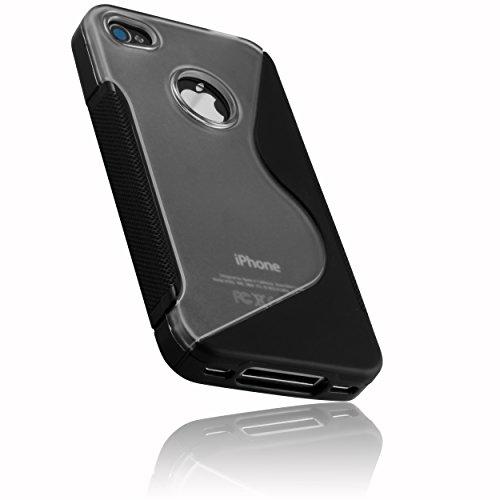 mumbi powerGRIP TPU Skin Case für iPhone 4 4S Silikon Tasche Hülle - iPhone 4S 4 Silicon Protector Schutzhülle schwarz