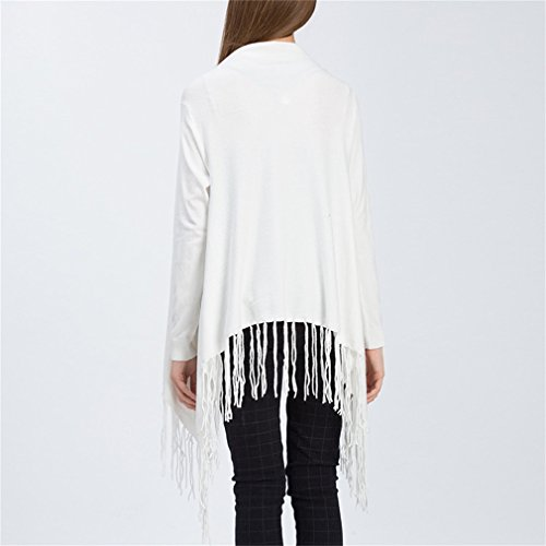 Honghu Femme Casual Manches Longues Gilets Freizeit Long Cardigan Blanc
