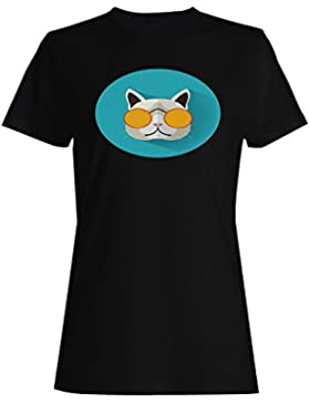 Hipster, gato, largo, sombra camiseta de las mujeres h175f