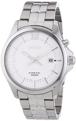 Seiko Kinetic SKA571P1 - Reloj analógico de cuarzo para hombre, correa de acero inoxidable color plateado