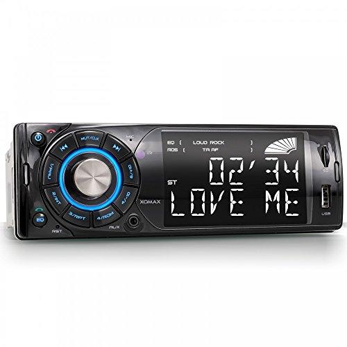"""XOMAX XM-RSU227BT Autoradio mit Bluetooth Freisprechfunktion + 7 Beleuchtungsfarben (blau, rot, grün, türkis, violett, gelb, weiß) + 4"""" Zoll / 10cm Display + USB Anschluss (bis 32 GB) & Micro SD Kartenslot (bis 32 GB) für MP3 und WMA + AUX-IN + Verkürzte Einbautiefe + Single DIN (1 DIN) Standard Einbaugröße + inkl. Einbaurahmen und Fernbedienung"""