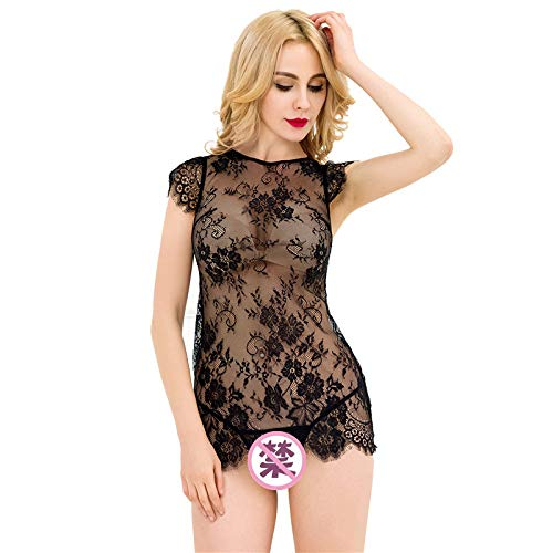 YKXY Pyjamas Sexy Black Lace Perspektive Kleid undichten hinteren Nacht flirten Versuchung Kurze Rock Dessous