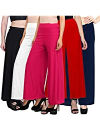 PIXIE lets work together! Casual Wear Malai Lycra Pant Palazzo Combo Pack of 5 - Free Size