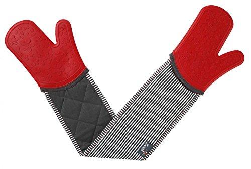 Zeal Silikon Steam Stop Wasserdicht Doppel Ofen Handschuhe, rote Streifen, Doppel-Ofenhandschuh (Doppel Rot Ofen-handschuh)