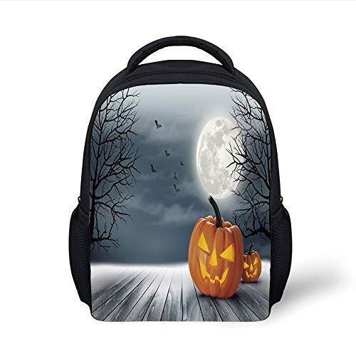 Kids School Backpack Halloween,Cold Foggy Night Dramatic Full Moon Pumpkins on Wood Board Trees Print,Grey Orange Black Plain Bookbag Travel Daypack -