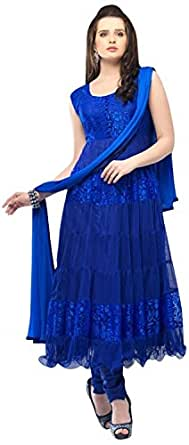 Janasya Women's Brasso Unstiched Dress Material (DR-012-Blue.A_Blue)
