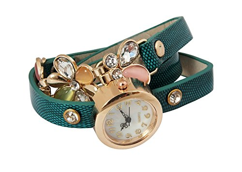 Crunchy Fashion Classic Flowers Watch Bracelet with Green Strap