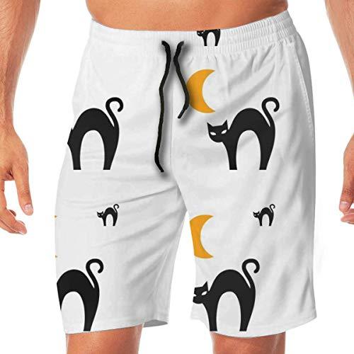 ange Moon Halloween_1176 Mens 3D Printed Swim Trunks Quick Dry Summer Beach Sports Running Shorts,Size:L ()