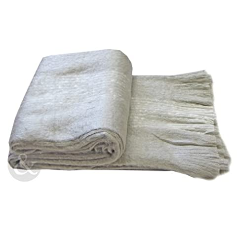 Just Contempo Faux Mohair Throw, Taupe Grey, 150 x 200 cm