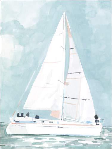 Posterlounge Leinwandbild 60 x 80 cm: Kleines Segelboot von Emma Scarvey/World Art Group - fertiges Wandbild, Bild auf Keilrahmen, Fertigbild auf echter Leinwand, Leinwanddruck