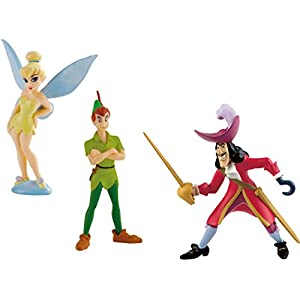 Bullyland Walt Disney Peter Pan 3 Figures Playset with Tinkerbell and Captain Hook