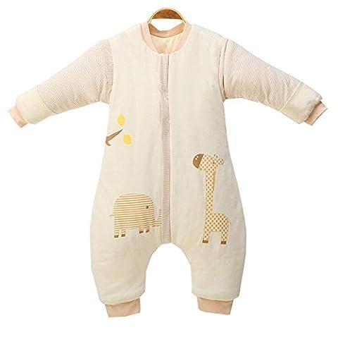 Chilsuessy Winter Kinder Schlafsack Klein Baby Schlafsaecke mit abnehmbar Langarm und Beinen aus Bio Baumwolle, Beige, L/Koerpergroesse 85-100cm