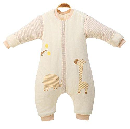 Chilsuessy Winter Kinder Schlafsack 3.5 Tog ganz soft und warm Babyschlafsack mit abnehmbar Langarm und Beinen aus Bio Baumwolle, Beige, L/Koerpergroesse 85-100cm