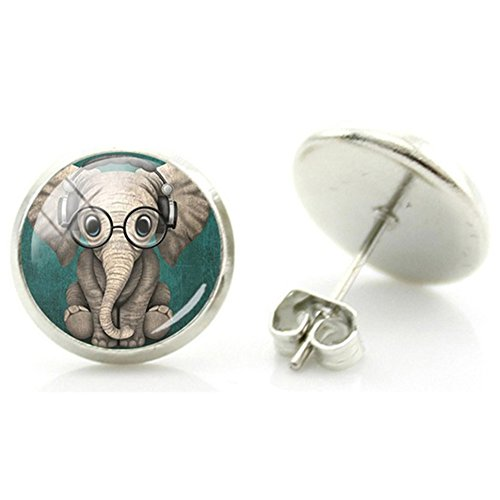 Cameleon-Shop 12mm Elefant Karikatur Cartoon Sonnenbrille Kopfhörer Ohrstecker Edelstahl Ohrschmuck Ohrring Ohr
