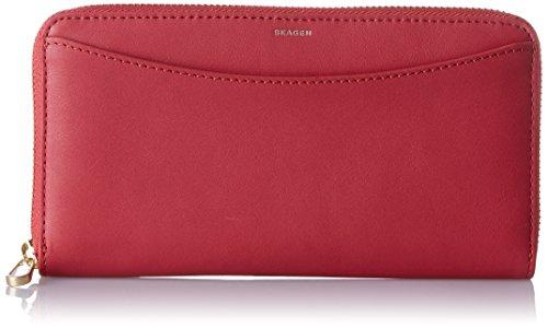Skagen Damen Continental Zip Wallet Geldbörse, Rot (Berry), 2.2000000000000002x10.199999999999999x19.5 cm - Continental Zip