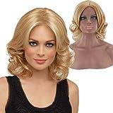 Cheveux frisés courts d'or pour les femmes, perruque synthétique résistante à la chaleur de vague d'eau naturelle pour la robe de soirée et robe quotidienne
