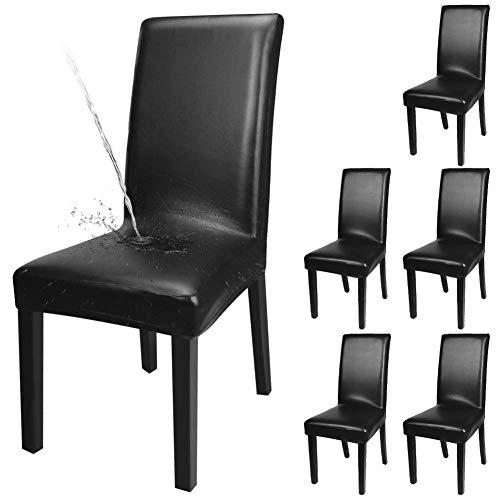 Fuloon Stuhlhussen 4er 6er, Wasserdichtes Pu Leder Stretch Stuhl-Bezug Bi-elastische Schutz-Husse,...
