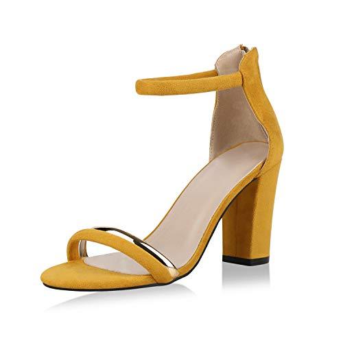 SCARPE VITA Damen Riemchensandaletten High Heel Sandaletten Party Schuhe Wildleder-Optik Absatzschuhe Elegant Metallic 175425 Gelb Gelb 39