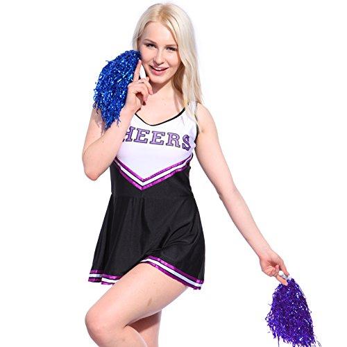 Cheerleading Kostüm - Anladia Mädchen Cheerleader Kostüm Dame Halloween Kostüm Kleid Cheerleading Bekleidung mit 2 Pompoms Schwarz Lila