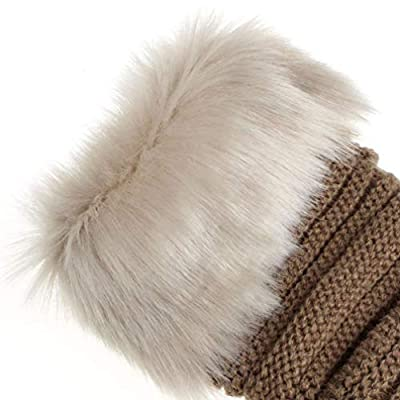 Voberry Women's Warm Winter Faux Rabbit Fur Wrist Fingerless Gloves Mittens