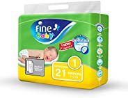 Fine Baby Diapers, Size 1, Newborn of 2-5 Kg, 21 Diapers