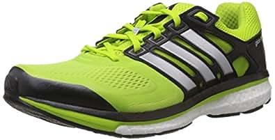 adidas Men's Supernova Glide 6 M Solar Slime, Black and White Mesh Running Shoes - 6 Uk