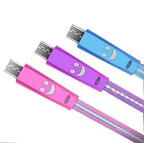 Qingsun Câble Lightning USB Data Chargeur LED lumière pour Samsung