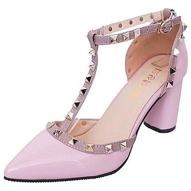 zhENfu Donna sandali di gomma Comfort estate passeggiate all'aperto Comfort rivetto blocco fibbia tacco arrossendo rosa grigio bianco nero sotto 1in Blushing Pink
