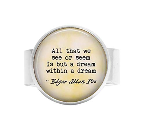 Edgar Allan Poe Ring All That we See or Seem is but a Dream Within a Dream, Verstellbarer Ring, Gedicht, mit verstellbarem Ring