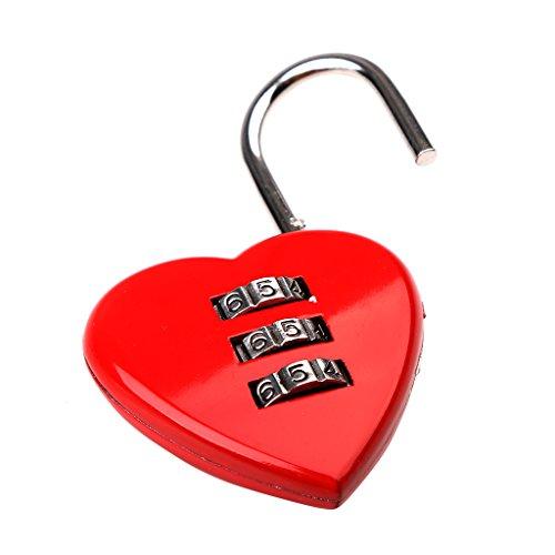 Gazechimp Liebesschloss Vorhangschloss in Herzform - 3-stellige rotes Herzschloss - geeignet für Gepäck, Rucksack, Schmuckschatullen, Hallenschrank, Werkzeugtruhen, Fitnessraum (Leichtes Drei-tasten-anzug)