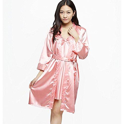 CHUNHUA modèles printemps explosion extérieure pyjama usure soie soie bretelles imitation deux pièces robe survêtement (couleur en option) , pink , l rose red