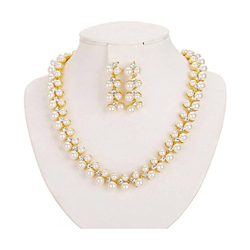 Shining Diva 18k Gold Plated Pearl Necklace Set / Jewellery Set with Earrings for Women / Girls