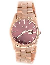 Con un reloj de cuarzo de las mujeres de Oasis de oro rosa y pulsera de acero inoxidable B1529