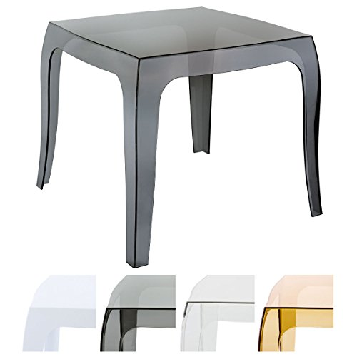 CLP Design-Kunststofftisch Queen I Pflegeleichter quadratischer Beistelltisch I Wetterbeständiger Outdoor-Tisch Schwarz