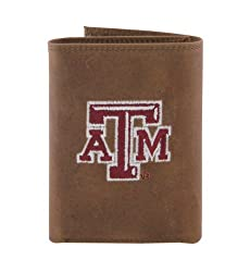 NCAA Texas A&M Aggies Zep-Pro Crazyhorse Leather Trifold Embroidered Wallet, Light Brown