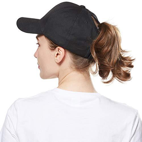 WELROG Dame Baseball Kappe Hip-Hop-Hut Verstellbar Baumwolle Pferdeschwanz (Schwarz) (Plain Baseball Cap Schwarz)