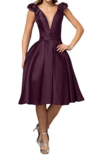 Missdressy Damen Satin Partkleid Abendkleid Tiefer V-Ausschnitt Band A-Linie Knielang Grape