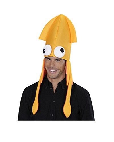 Kraken Hut orange (Kostüm Tintenfisch Hut)