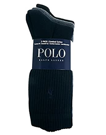 Polo Ralph Lauren 3-Pack Crew Pony Player Socks, Navy/Grey/Black