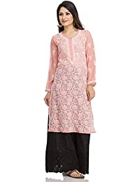 fcdd53b022 ADA Hand Embroidery Chikan Regular Fit Peach Kurti Dress in Georgette  Casual Wear A95561
