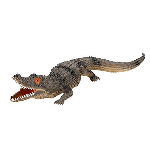 iguren für Kinder Weichplastik Große Krokodil Action Figure Spielzeug hoche Simulation Krokodil Reptil Tiermodell mit Sound für Geburtstag Party Favor(dunkle Farbe) ()